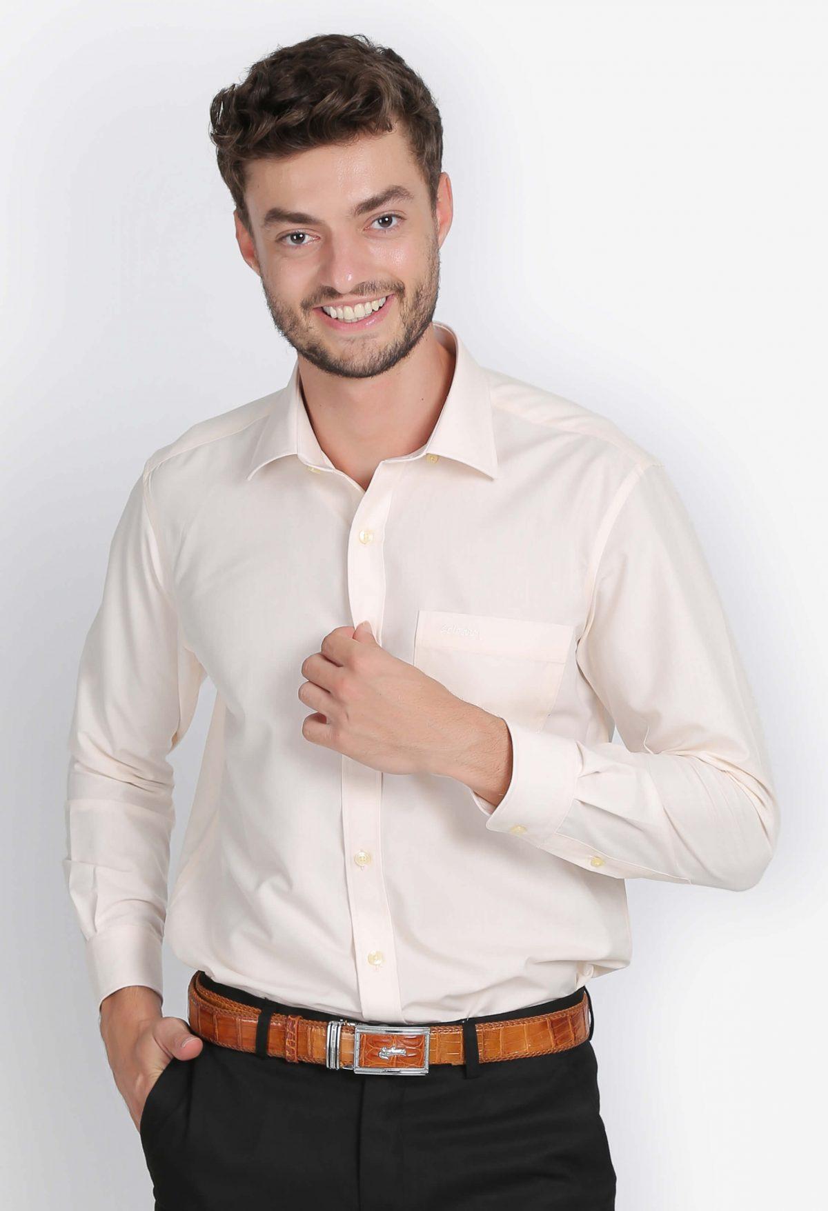 áo sơ mi nam dài tay màu vàng nhạt